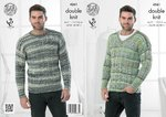 King Cole 4261 Knitting Pattern Round Neck and V Neck Sweaters in King Cole Drifter DK