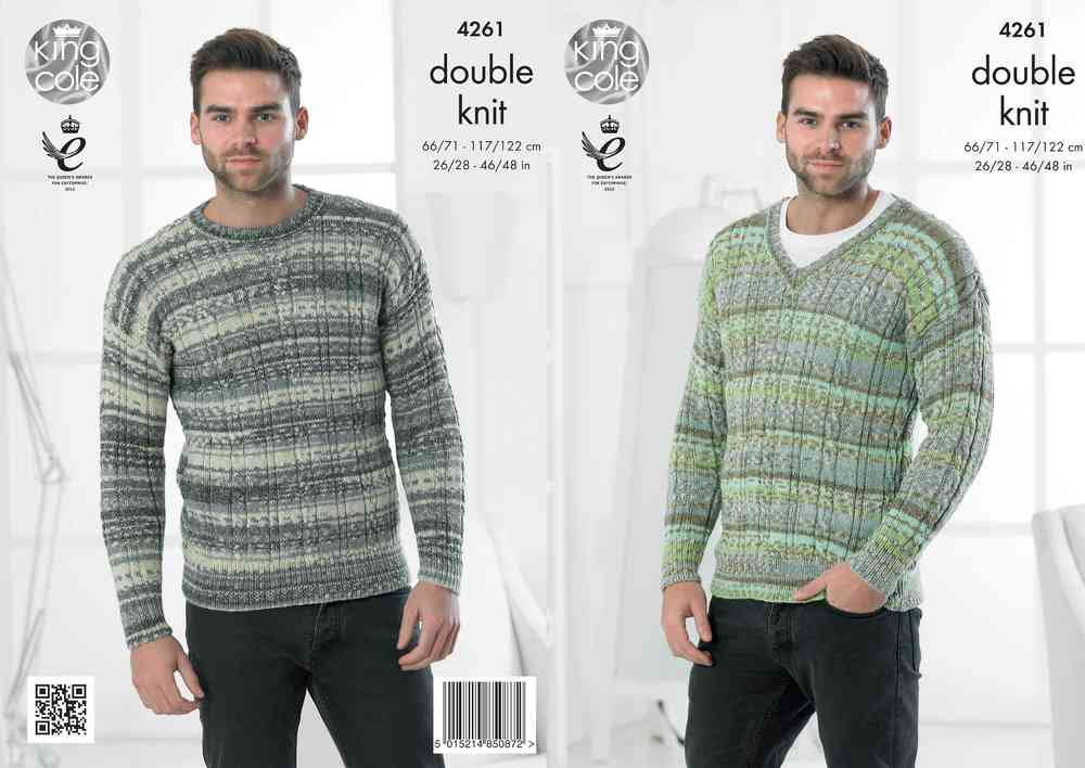 King Cole 4261 Knitting Pattern Round Neck and V Neck Sweaters in ...