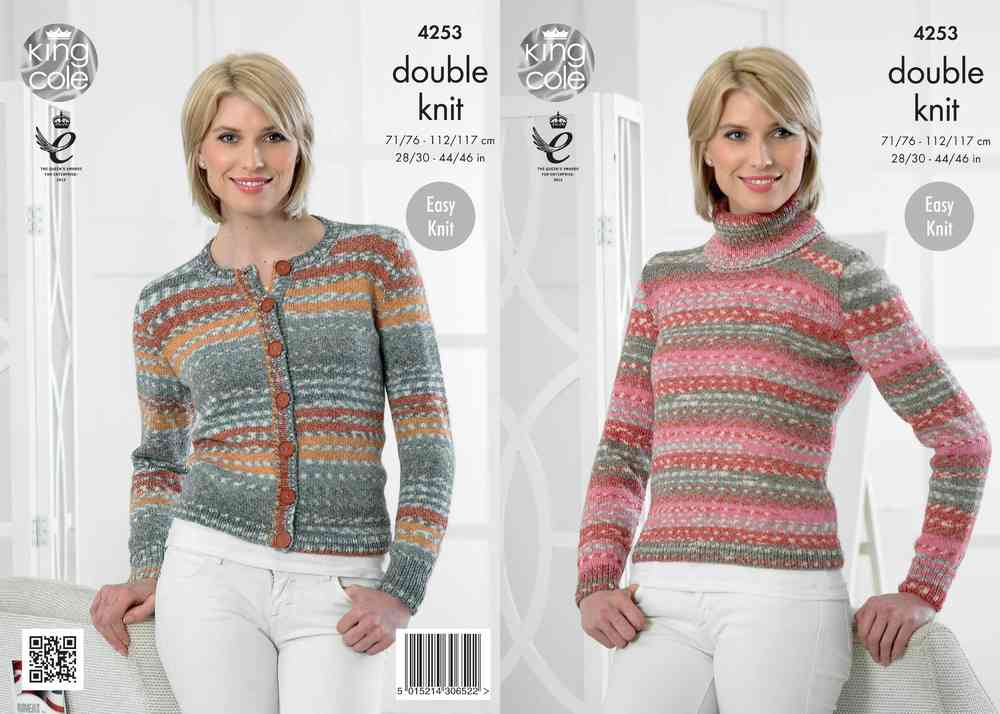 King Cole 4253 Knitting Pattern Sweater and Cardigan in King Cole ...