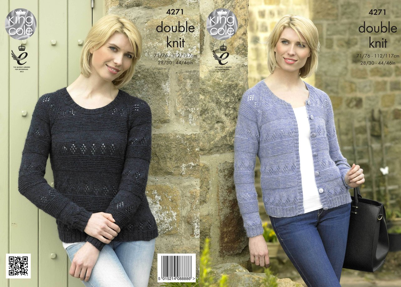 King Cole 4271 Knitting Pattern Cardigan and Sweater in Panache DK ...