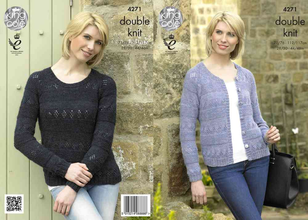 1a124124c3128 King Cole 4271 Knitting Pattern Cardigan and Sweater in Panache DK -  Athenbys