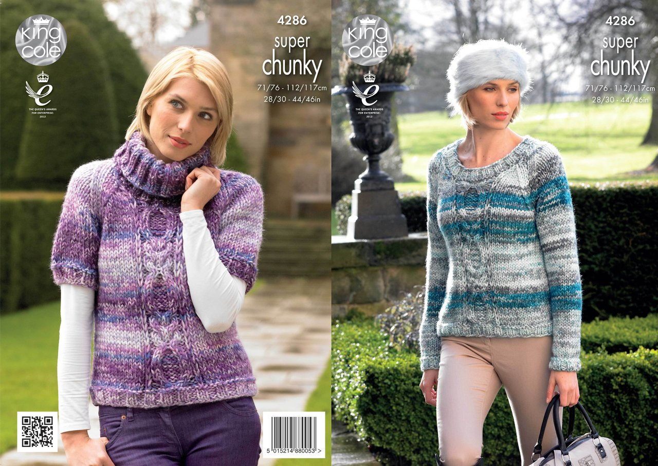 King Cole 4286 Knitting Pattern Round and Polo Neck Sweater in Super ...