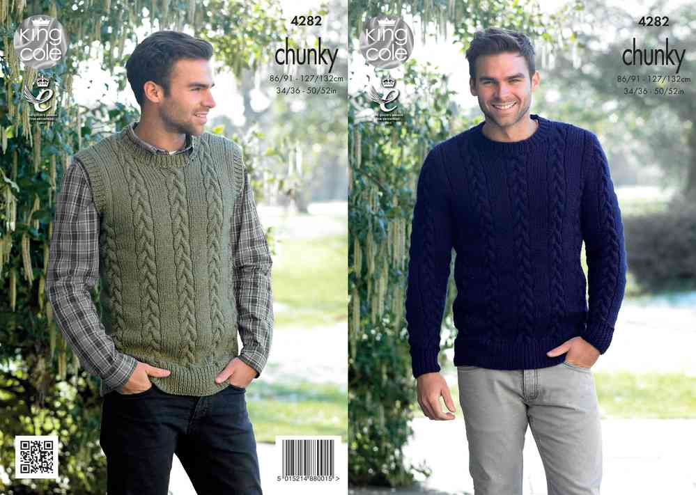 King Cole 4282 Knitting Pattern Mens Sweater And Slipover In King