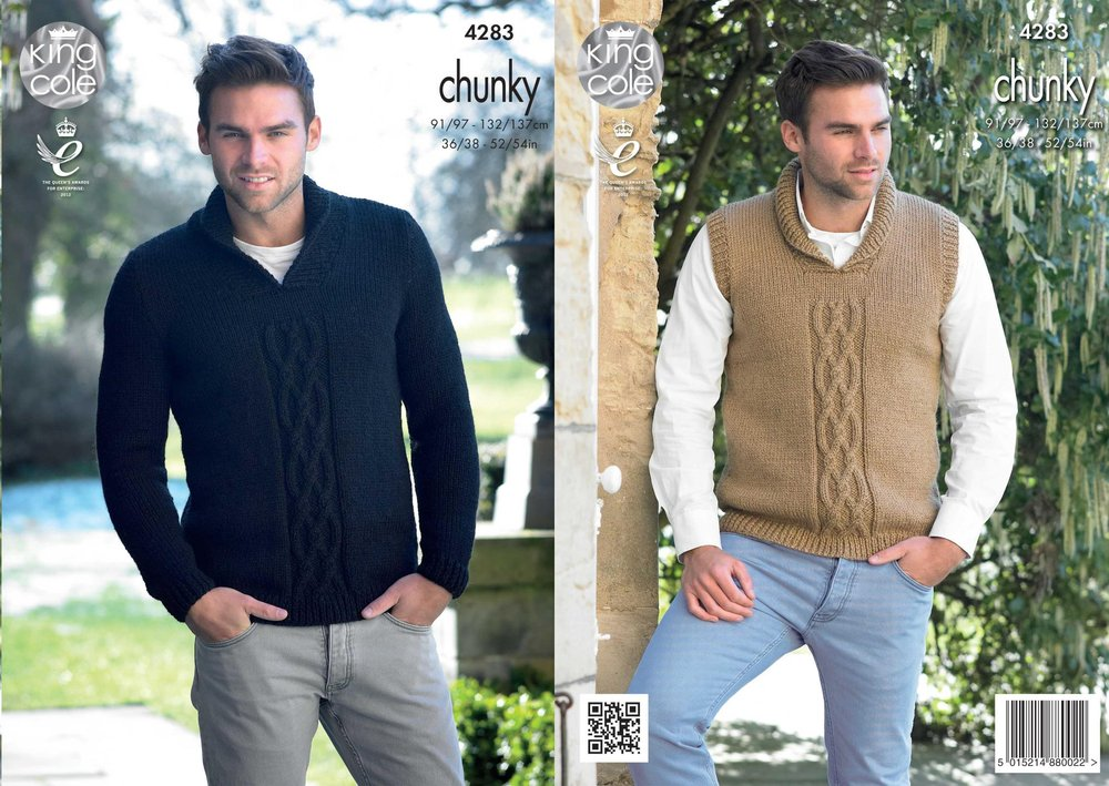 a194ae63e4841 ... King Cole 4283 Knitting Pattern Mens Sweater and Slipover in New Magnum  Chunky ...
