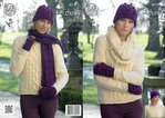 King Cole 4279 Knitting Pattern Sweater, Cowl, Hats, Scarf and Fingerless Gloves in Magnum Chunky