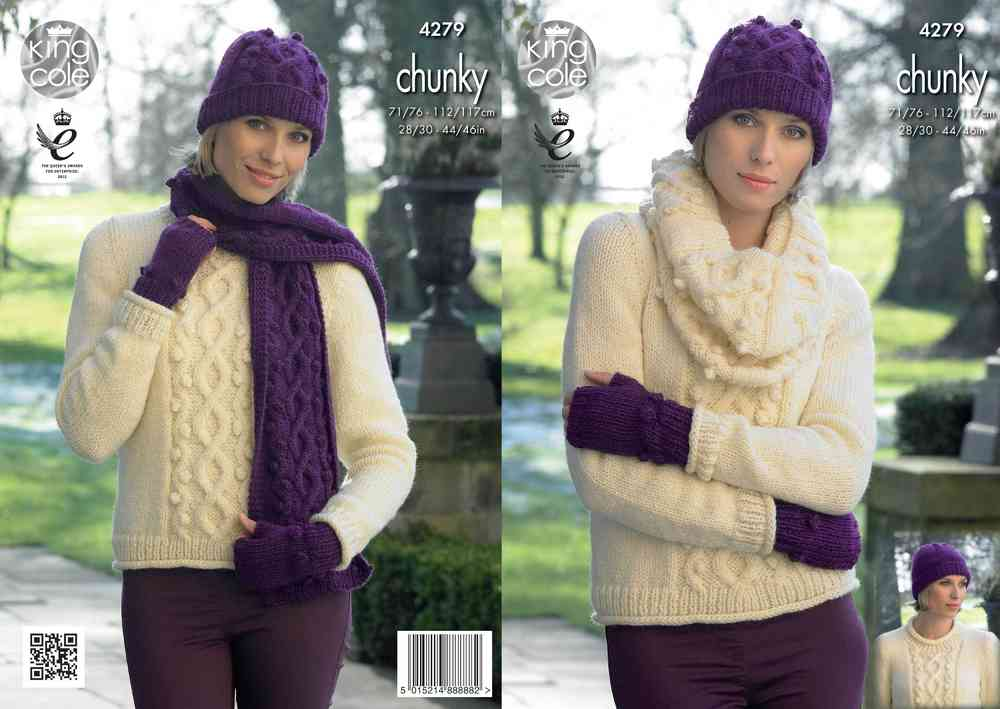 King Cole 4279 Knitting Pattern Sweater, Cowl, Hats, Scarf and ...