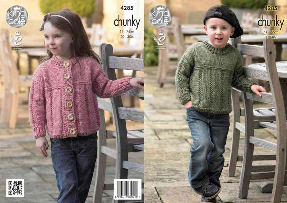 c375b0e9491f King Cole 4285 Knitting Pattern Sweater and Cardigan in King Cole Magnum  Chunky - Athenbys