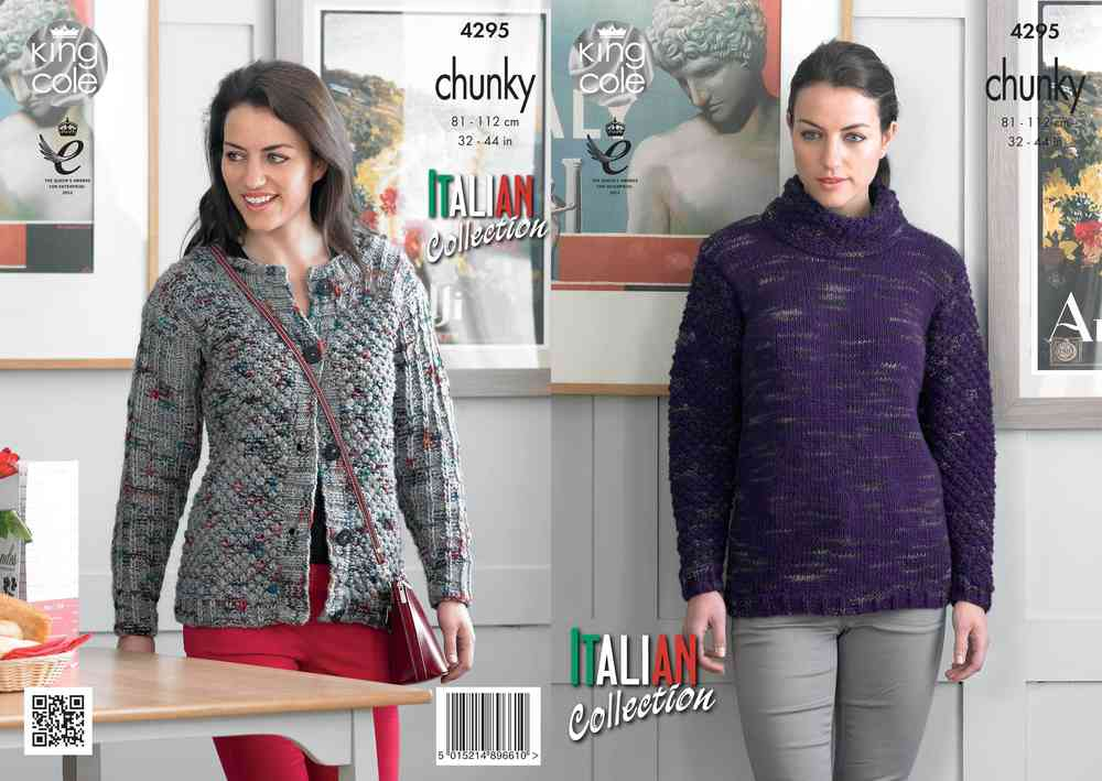 34751278ef51 King Cole 4295 Knitting Pattern Sweater and Cardigan in King Cole Florence  Chunky - Athenbys