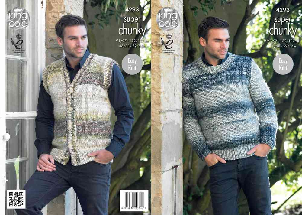 King Cole 4293 Knitting Pattern Mens Waistcoat & Round Neck Sweater ...
