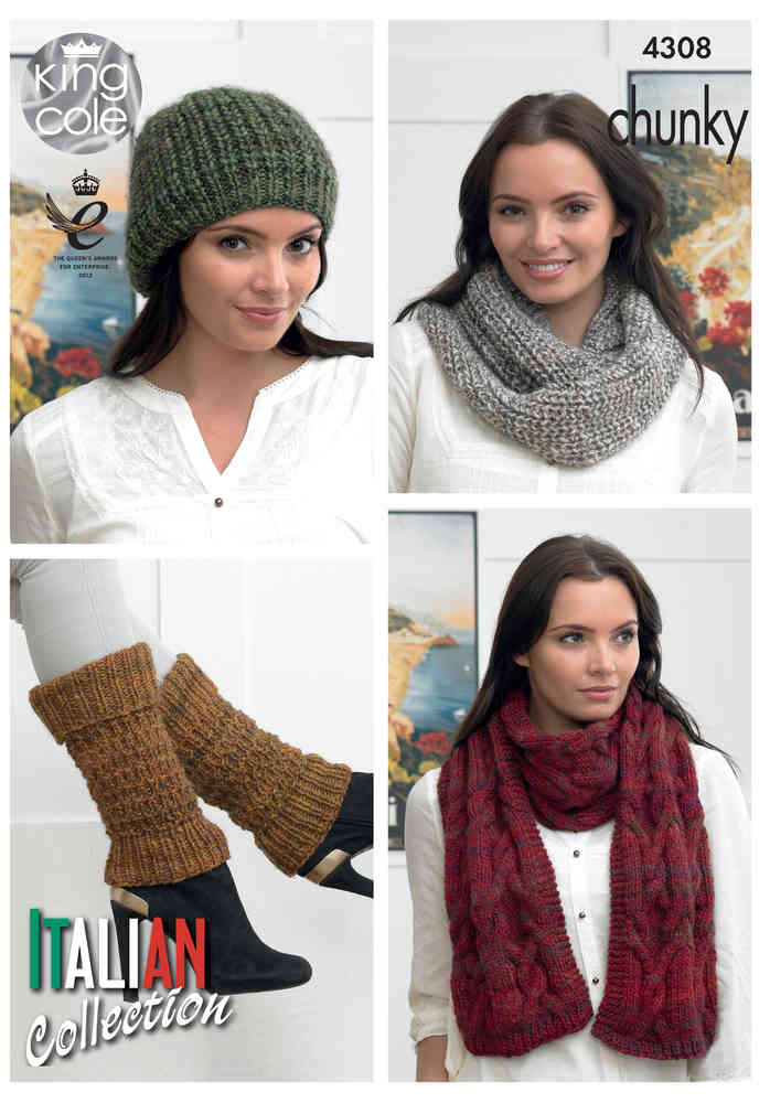 King Cole 4308 Knitting Pattern Scarf, Cowl, Hat and Leg Warmers in ...