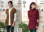 King Cole 4306 Knitting Pattern Sweater Dress and Waistcoat in King Cole Venice Chunky