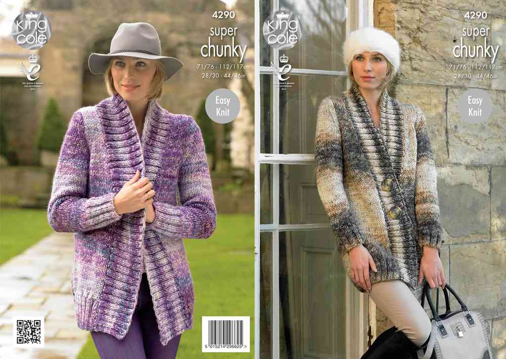 King Cole 4290 Knitting Pattern Jackets in Big Value Super Chunky ...