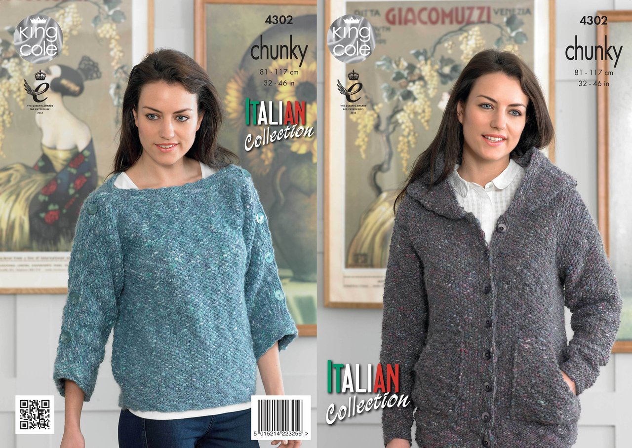 King Cole 4302 Knitting Pattern Hoodie and Top in King Cole Verona ...