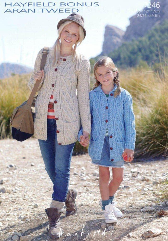 8c6c8a85f0faf1 Sirdar 7246 Knitting Pattern Womens Girls Cardigans in Hayfield Bonus Aran  Tweed