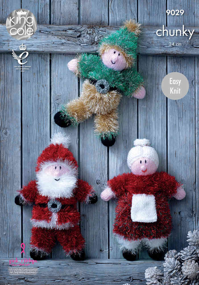 King Cole 9029 Knitting Pattern Christmas Toys in Tinsel Chunky ...