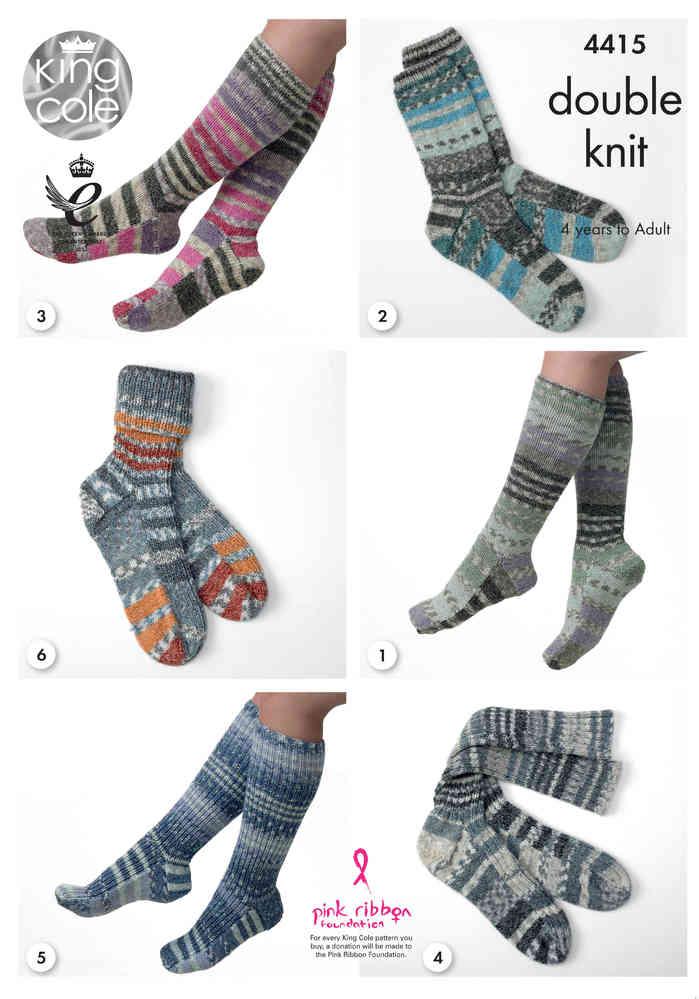 King Cole 4415 Knitting Pattern Socks in King Cole Drifter DK - Athenbys