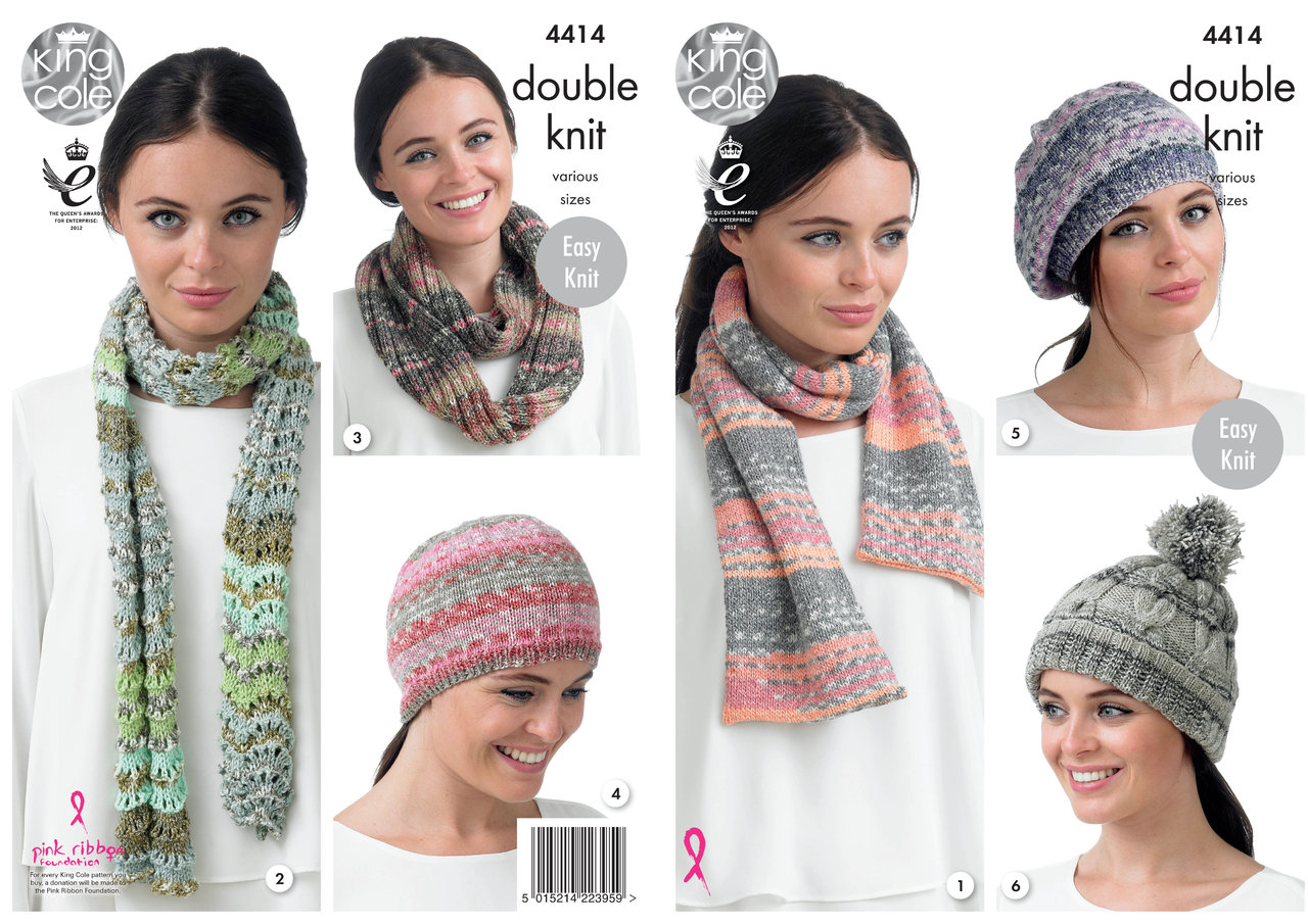 King Cole 4414 Knitting Pattern Hat, Scarfs and Snood in King Cole ...