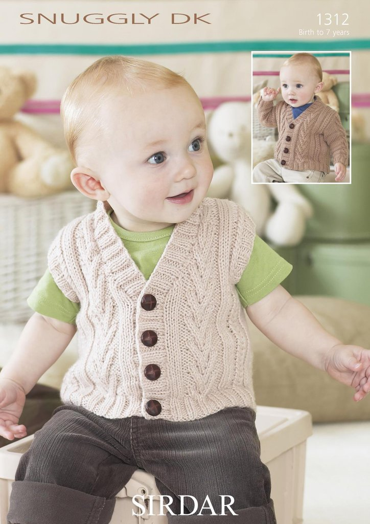 Sirdar 1312 Knitting Pattern Baby Cardigan & Waistcoat in Sirdar ...