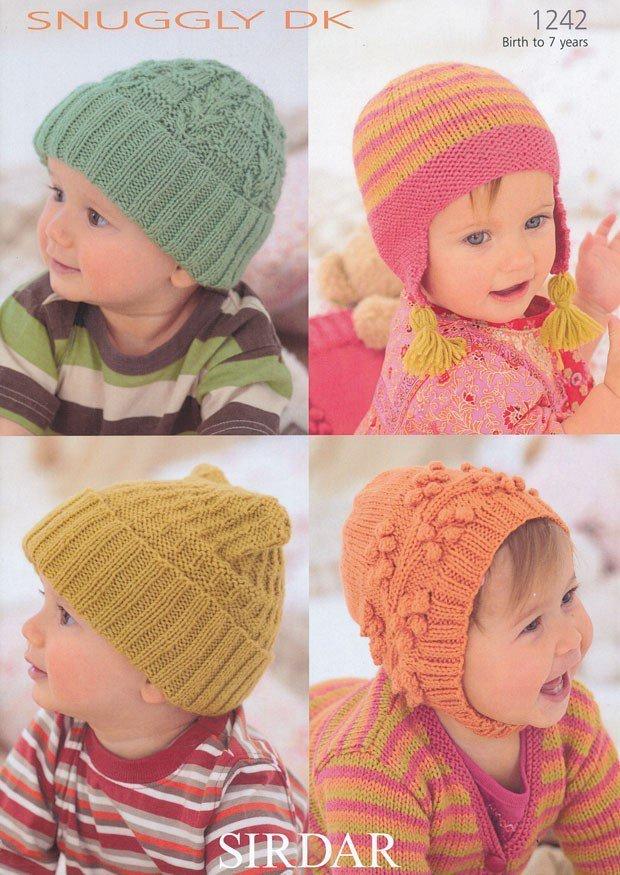Sirdar 1242 Knitting Pattern Babys Childs Hats In Sirdar Snuggly