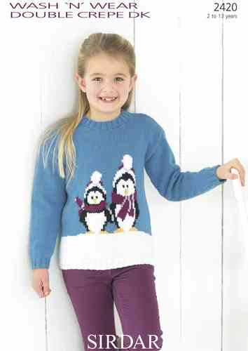 Sirdar 2420 Knitting Pattern Girl's Round Neck Sweater with Penguin Motif