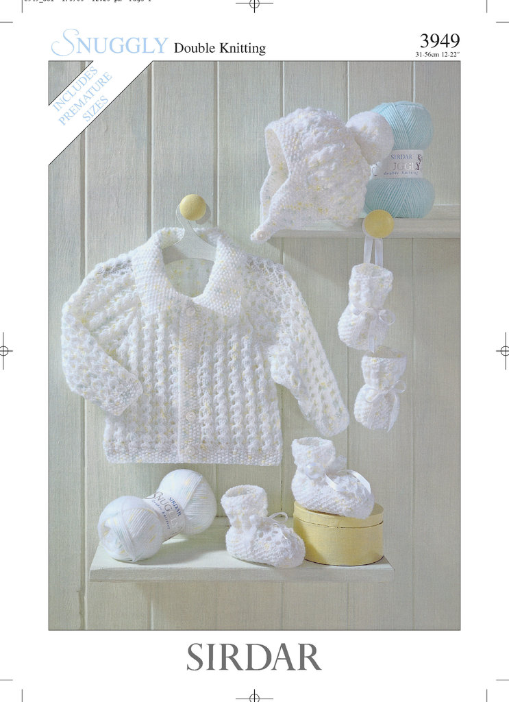 Sirdar 3949 Knitting Pattern Jacket, Hat, Bootees & Mittens in ...
