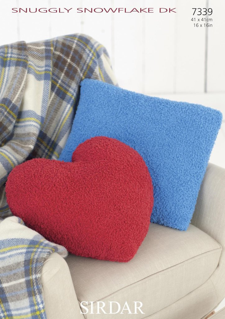 Sirdar 7339 Knitting Pattern Heart and Square Cushion ...