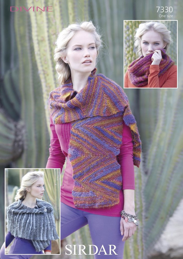 Sirdar 7330 Knitting Pattern Scarf Snood And Wrap In Sirdar Divine