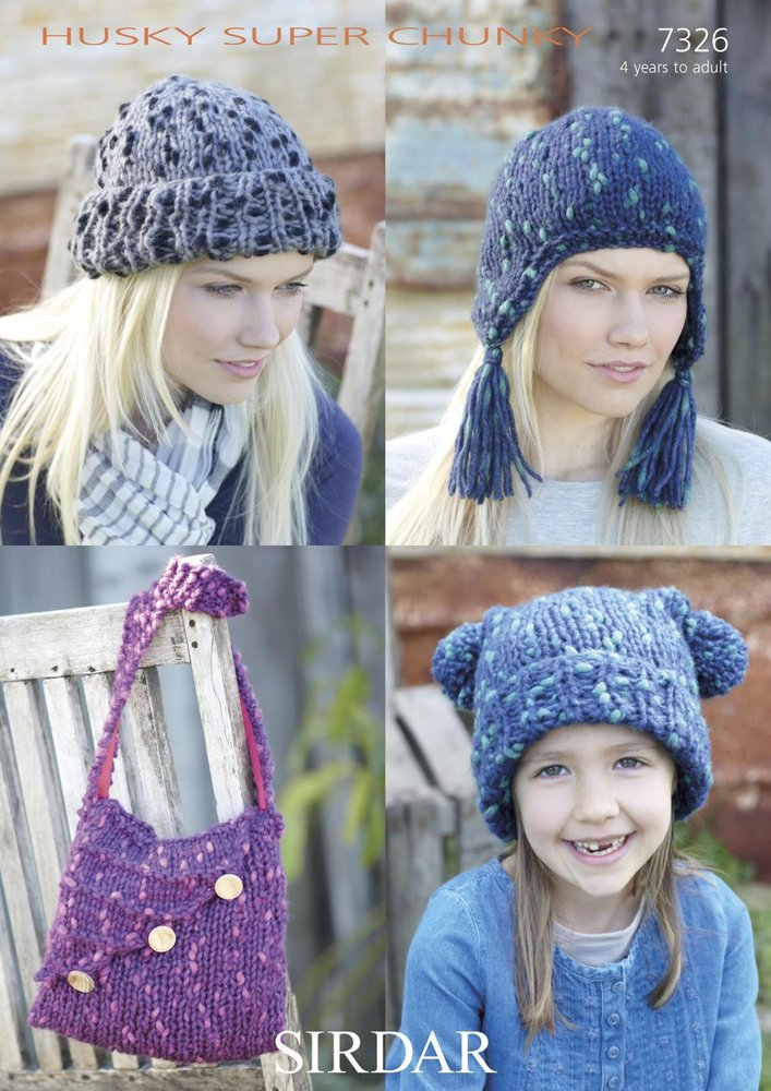 Sirdar 7326 Knitting Pattern Tasselled Helmet, Hat and Shoulder Bag ...
