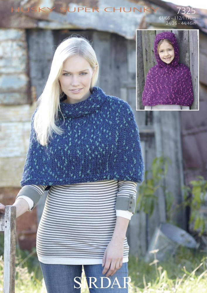 Sirdar 7325 Knitting Pattern Stand Up Neck & Hooded Poncho in Sirdar ...