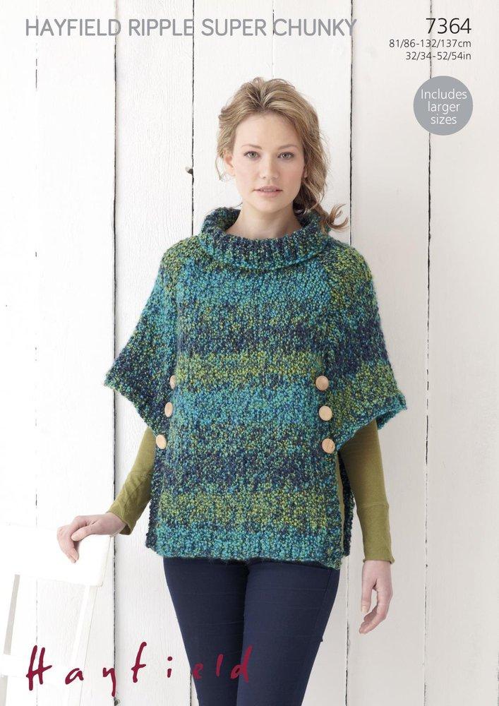 Sirdar 7364 Knitting Pattern Womens Poncho In Hayfield Ripple Super