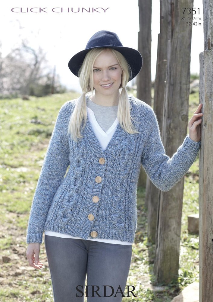 Sirdar 7351 Knitting Pattern Womens Cardigan in Sirdar Click Chunky ...
