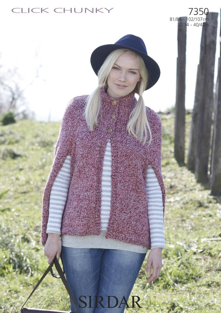Sirdar 7350 Knitting Pattern Womens Button Cape in Sirdar Click ...
