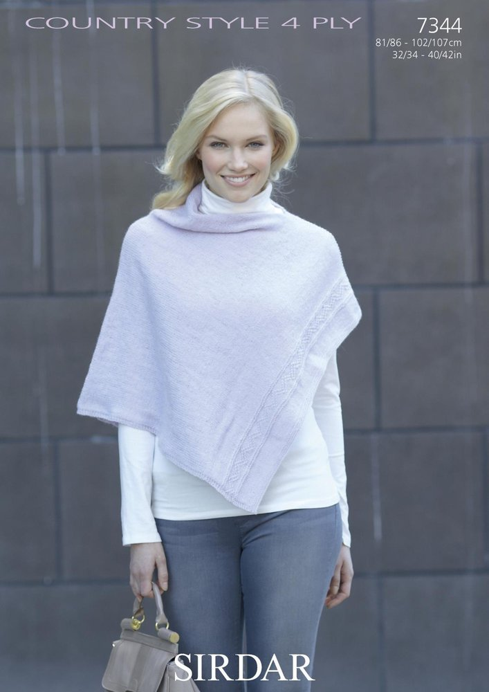 Sirdar 7344 Knitting Pattern Womens Poncho In Sirdar Country Style 4