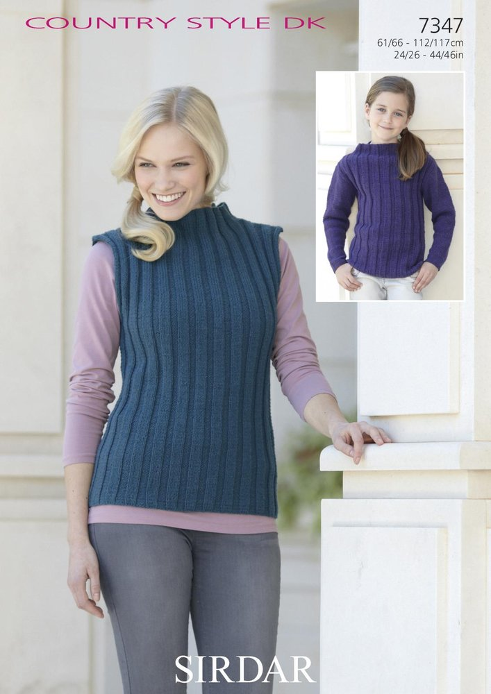Sirdar 7347 Knitting Pattern Long Sleeve Sweater & Sleeveless Top in ...
