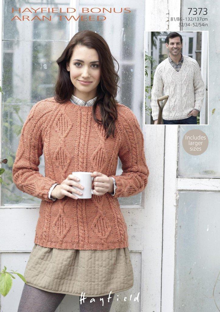 Sirdar 7373 Knitting Pattern Womens Mens Round Neck V Neck