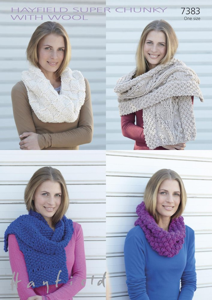 Sirdar 7383 Knitting Pattern Womens Snood And Scarves In Hayfield