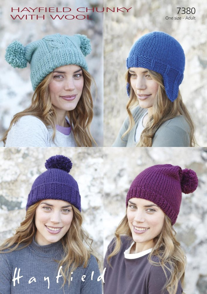 Sirdar 7380 Knitting Pattern Tea Bag Hat, Helmet, Pull-On Hat and ...