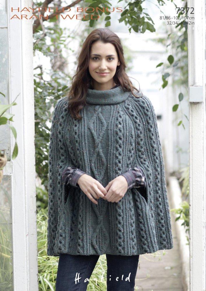 Sirdar 7372 Knitting Pattern Womens Cowl Neck Cape In Hayfield Bonus