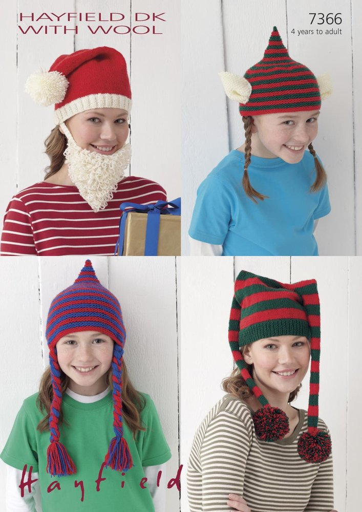 Sirdar 7366 Knitting Pattern Novelty Christmas Hats in Hayfield DK with  Wool - Athenbys 9a87073d846