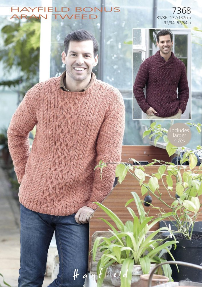 Sirdar 7368 Knitting Pattern Mens Round Neck and Wrap Neck Sweater ...