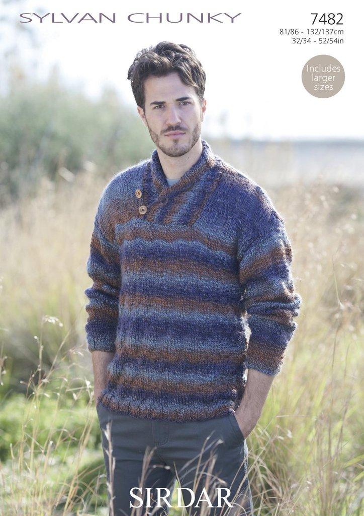 Sirdar 7482 Knitting Pattern Mens Wrap Neck Sweater in Sirdar Sylvan ...