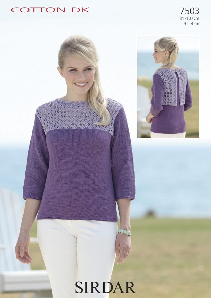 Sirdar 7503 Knitting Pattern 34 Sleeved Boat Neck Top In Sirdar