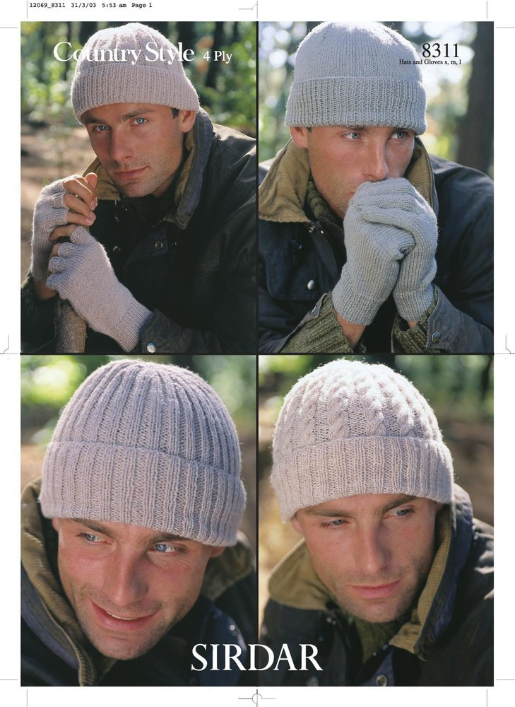 Sirdar 8311 Knitting Pattern Mens Hats and Gloves in Sirdar Country Style 4  Ply - Athenbys 5315fbb34