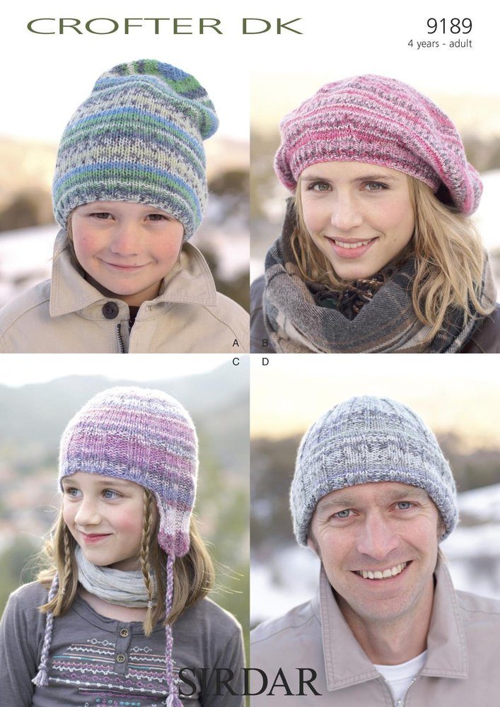 Sirdar 9189 Knitting Pattern Family Hats in Sirdar Crofter DK - Athenbys