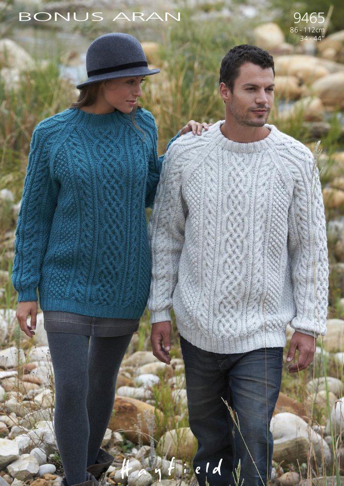 Sirdar 9465 Knitting Pattern Mens Womens Cable Sweaters in Hayfield ...