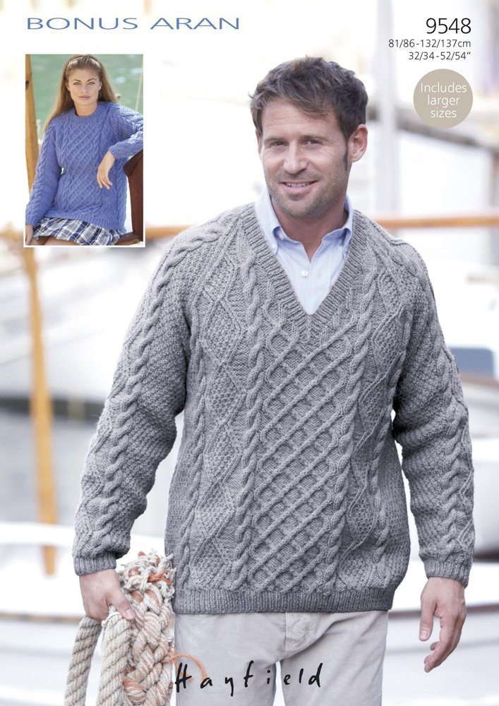 Sirdar 9548 Knitting Pattern Mens Womens Cabled Sweaters in Hayfield ...