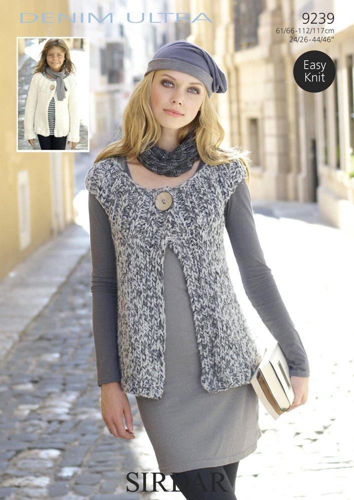 Sirdar 9239 Knitting Pattern Ladies Cardigan And Waistcoat In Sirdar