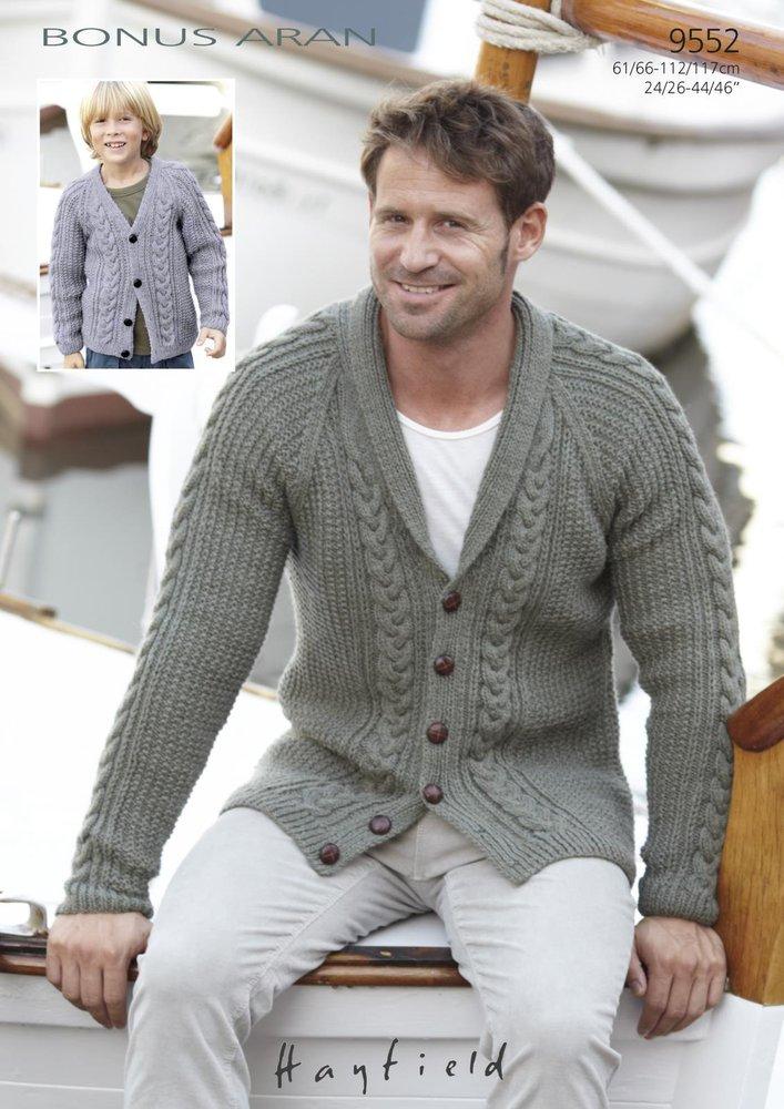 Sirdar 9552 Knitting Pattern Boys Mens Cardigans In Hayfield Bonus