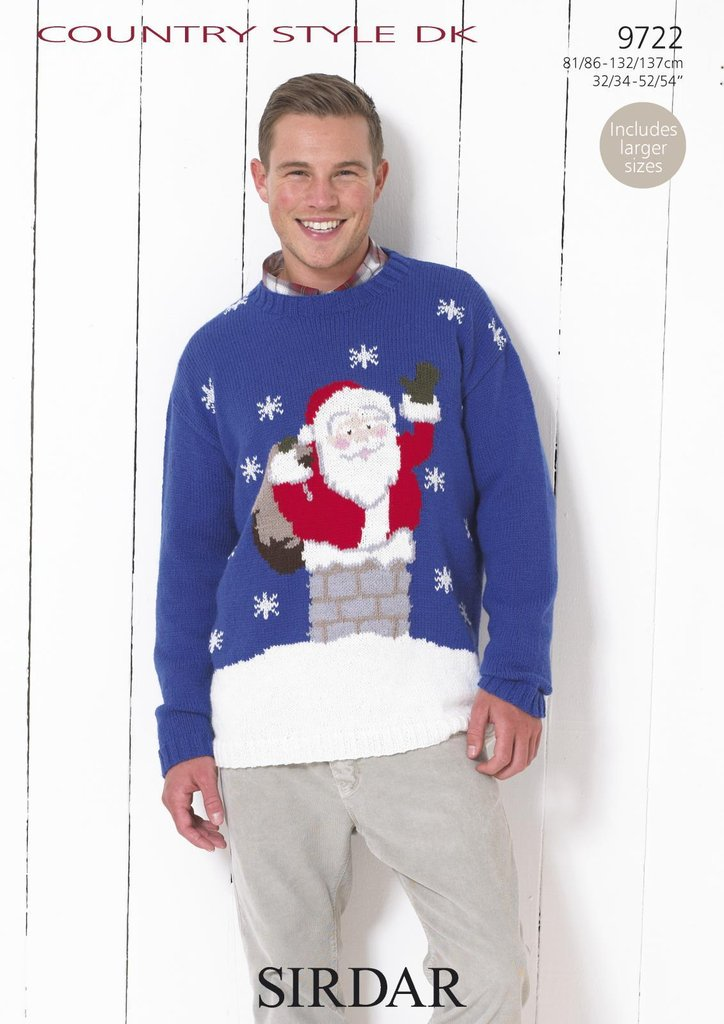 Sirdar 9722 Knitting Pattern Mens Santa Claus Christmas Sweater In