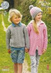 King Cole 4375 Knitting Pattern Sweater, Cardigan and Hat in King Cole Merino Blend DK